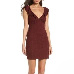 Lulu's Ruffle Neck Lace Mini Dress